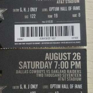 A pair of Dallas Cowboys tickets