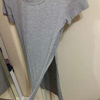 Grey Side Split Shirt