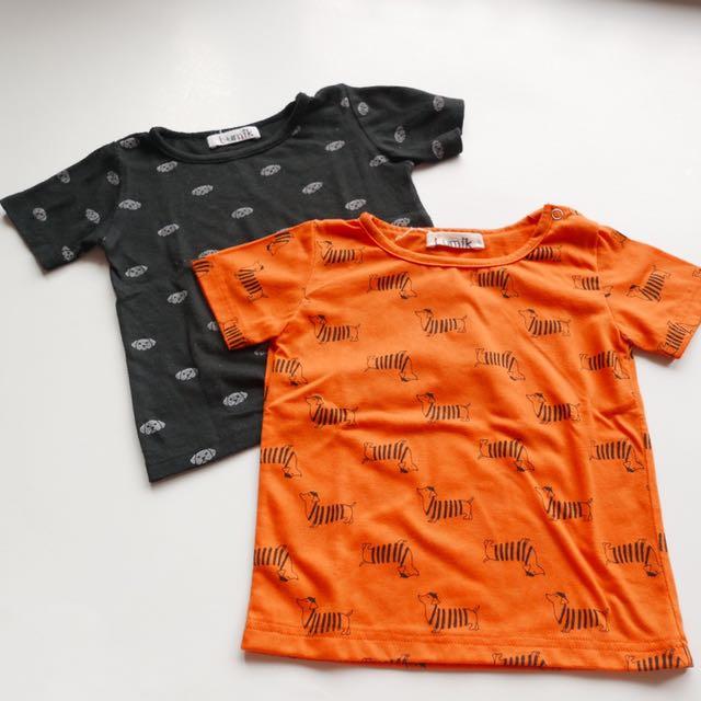 2pcs tshirt merk lumik sz 6-12mo