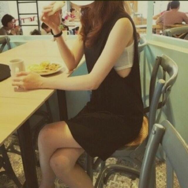 正韓 may5253棉質背心洋裝連身裙~灰色款