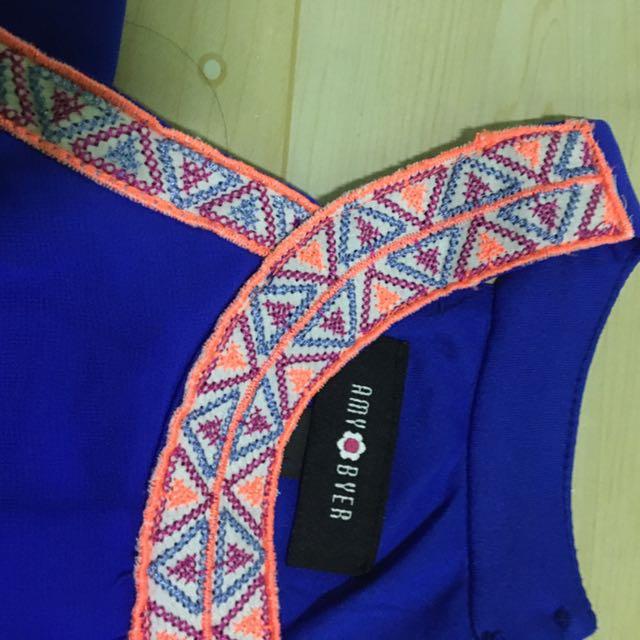 A. Byer Chiffon Dress in Blue