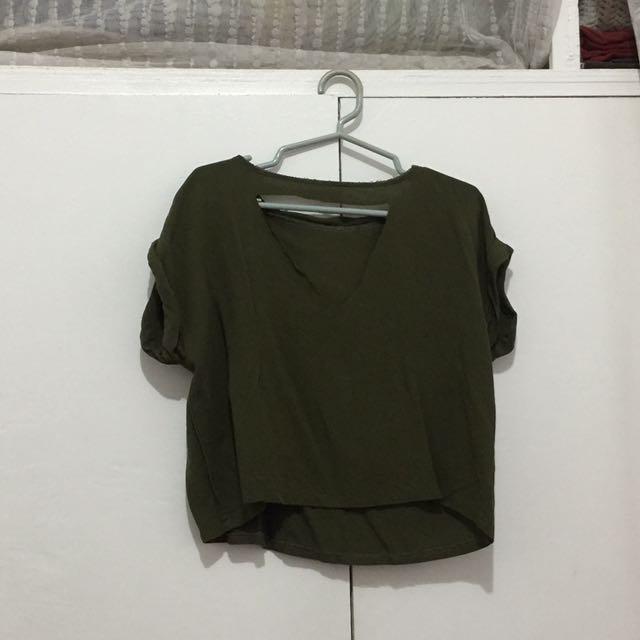 Army Green V Cut Shirt