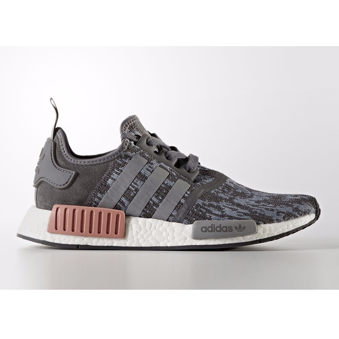 435596b1e4a5 Authentic Adidas Originals Women s NMD R1 Heather Grey   Raw Pink ...