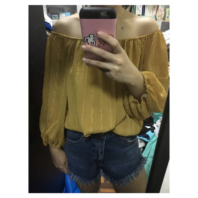 Authentic Forever 21 F21 Off Shoulder Yellow Mustard Bohemian Boho Top Shirt Blouse