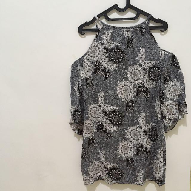 Batik Open Shoulder Dress