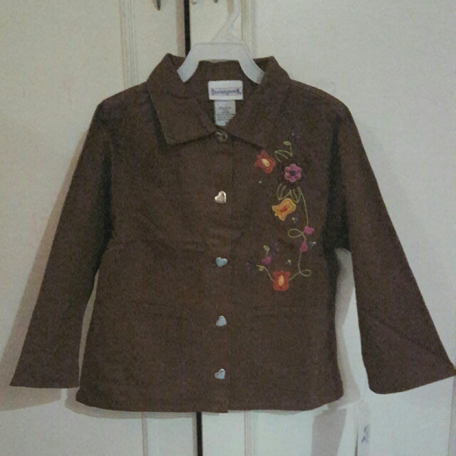 Brown Coat With Flower Embroidery