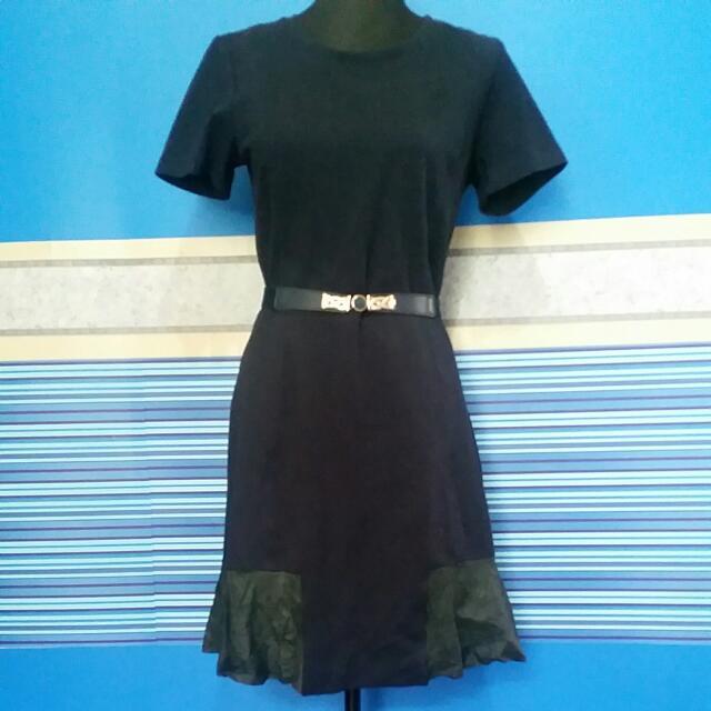 Club Monaco Black Dress With Leather Hem Detail