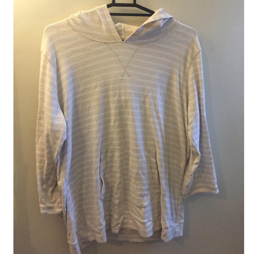 Comfy Cream Striped Gap Hoodie XL