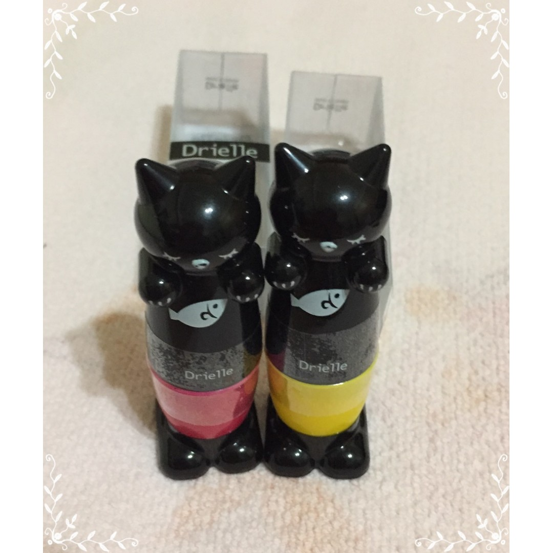 Drielle朵艾利 貓咪彩繪指甲油雙功能0.3mm針頭+柔軟刷頭CAT-05熱戀街口桃紅/CAT-13童趣軟糖黃色