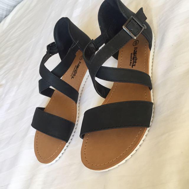 Flat Black Strappy Sandal