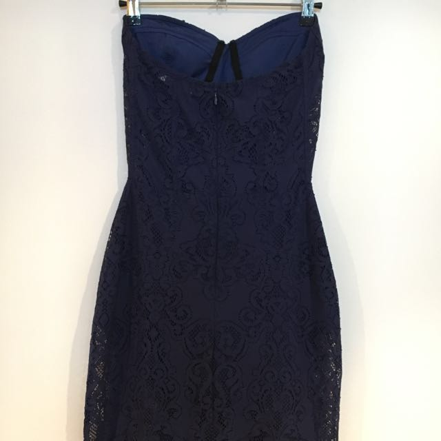 For Love and Lemons strapless lace dress - Navy S