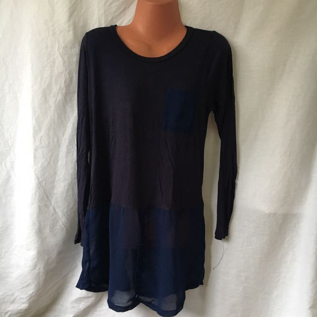 Freesize Dark blue Cotton and sheer blouse