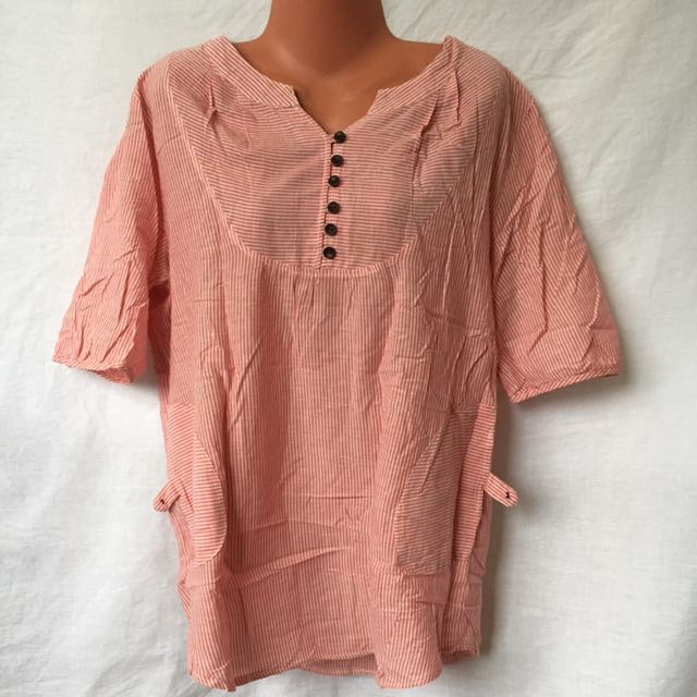 Freesize Large Red and white stripped Blouse