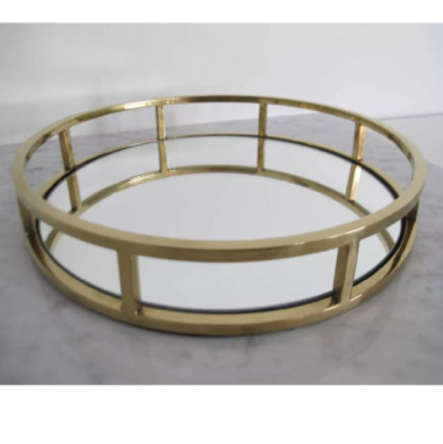 Rose Gold Mirrored Coffee Table: Gold / Rose Gold Round Mirrored Tray, Home & Furniture