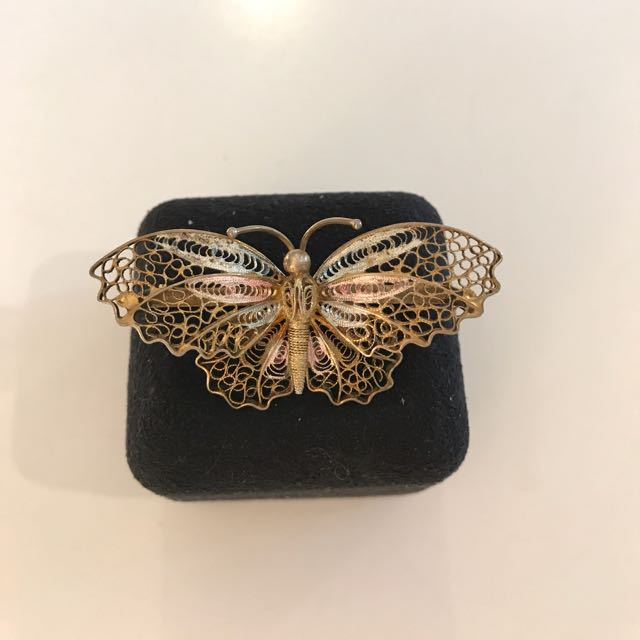 Gold Butterfly Broach Pendant