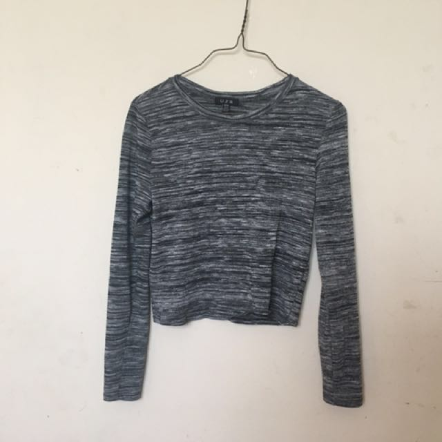 Grey And Black Long Sleeve Shirt