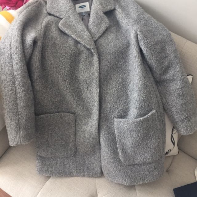 Grey Old Navy Gray Coat Xs Cocoon Oversized