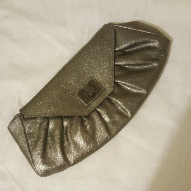 Gunmetal Clutch With Strap