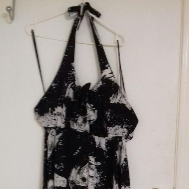 Price Reduce ..Haltered Black And White Forever21 Dress