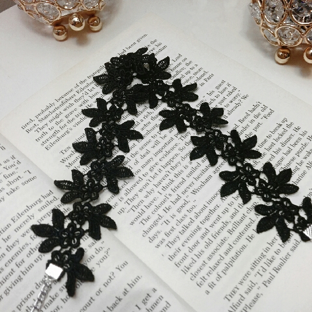 Handmade Black Floral Lace Choker