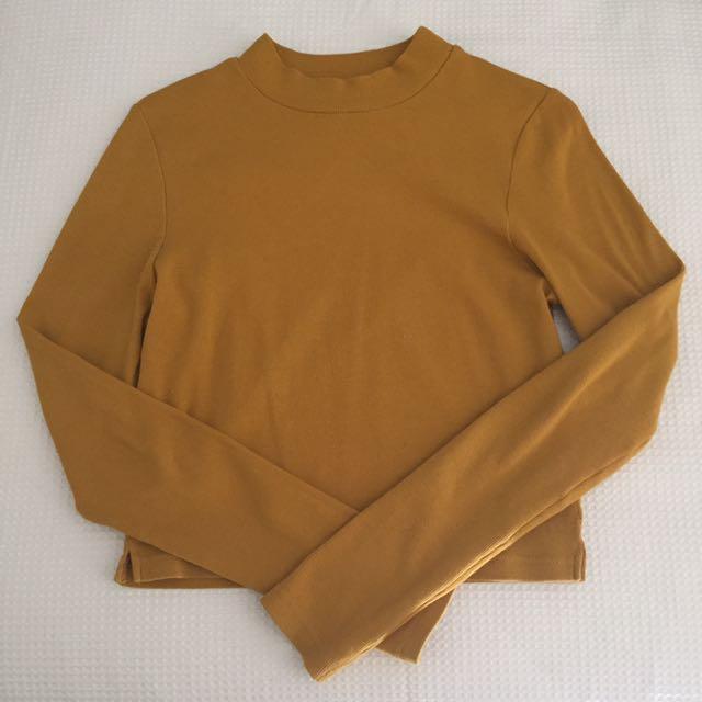 High Neck Crop Shirt