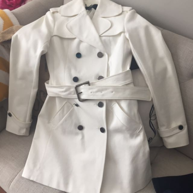 Jacob White Trench Coat Xs