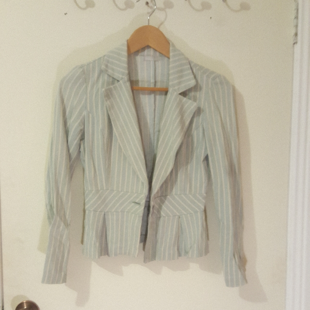 Light Blue Striped Blazer Size Xs