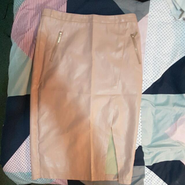 Mirrou Pink Leather Midi Skirt