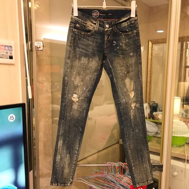 Miss sixty 全新刷破深灰刷色牛仔褲