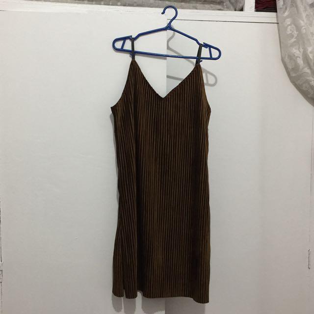 Mustard Brown Velvet Dress