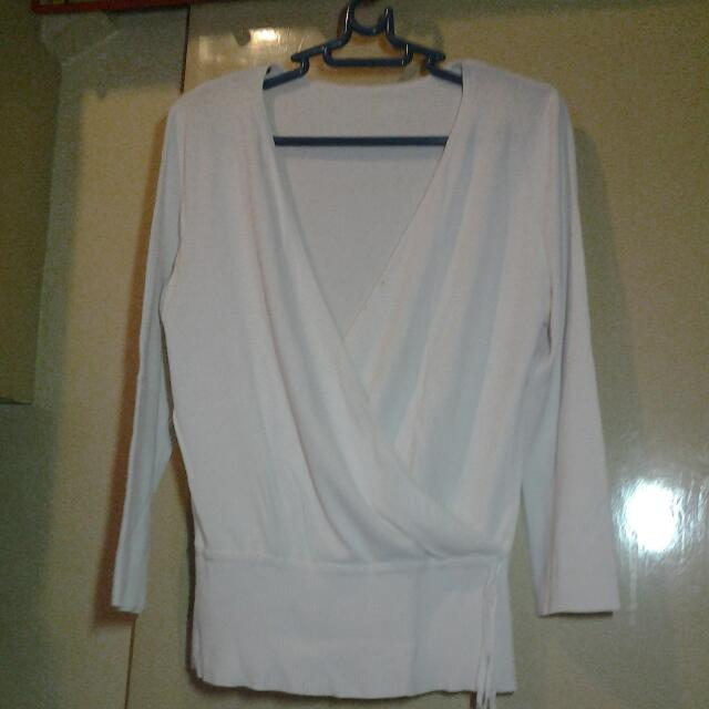 Off White Knitted 3/4 Blouse