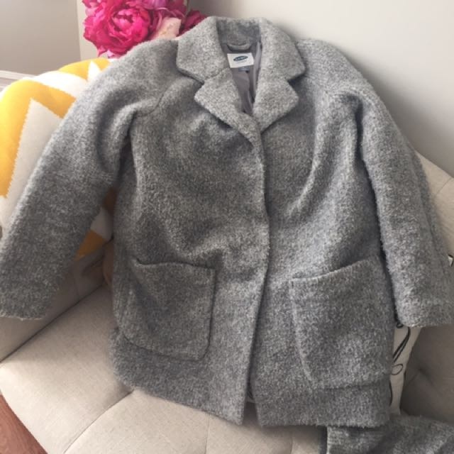 Old Navy Grey Gray Coat Size Small Oversized Cocoon