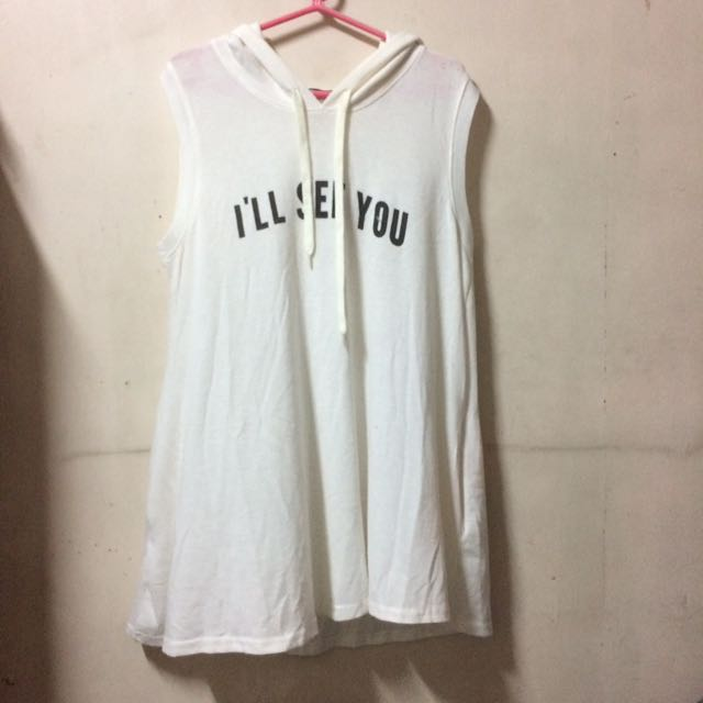 Pre-loved White Sleeveless With Hood
