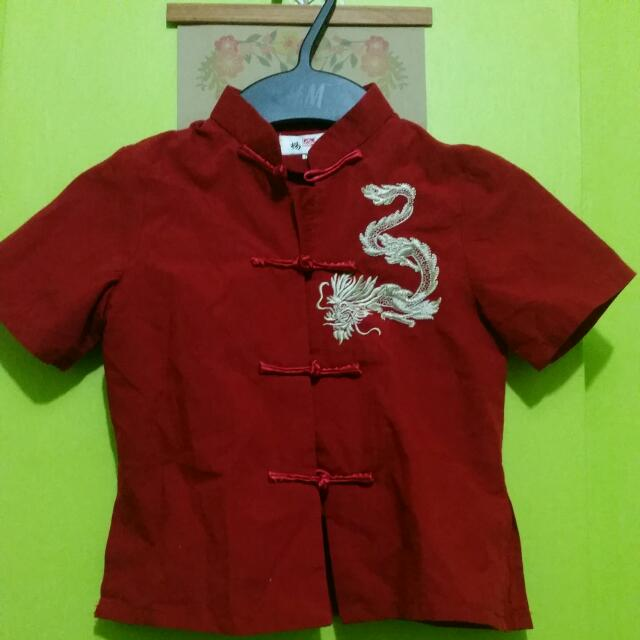 Red Chinese Collar Top (Girl or Boy)