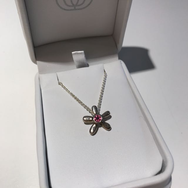 Sterling Silver And Pink Sapphire Flower Necklace