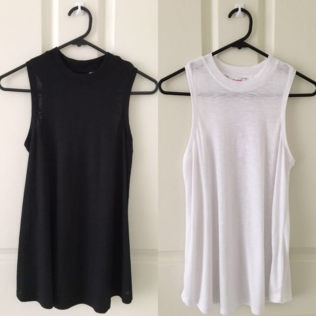 SUPRE 2 x High Neck Rib Swing Tops Size 6