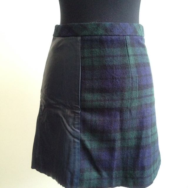 Tartan And Leather Skirt by Topshop