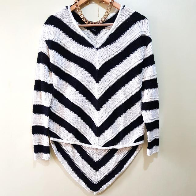 Thick Cable Knit Long Back Sweater