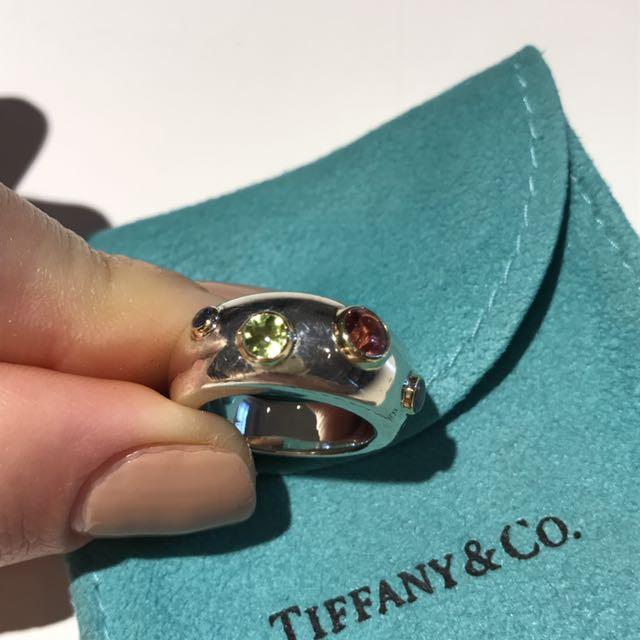 Tiffany & Co. Elsa Perretti 4 Stone Sterling And Gold Ring