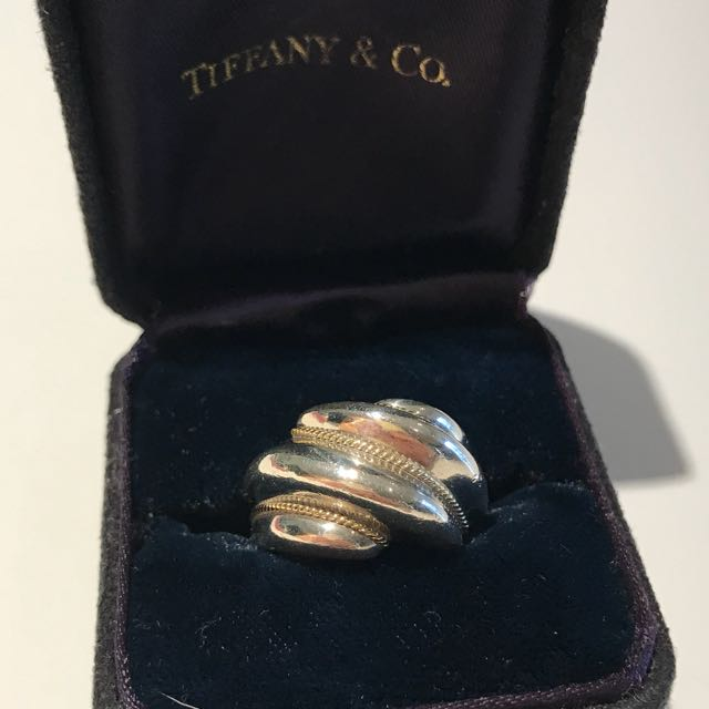 Tiffany & Co. Sterling Silver And Gold Swirl Ring
