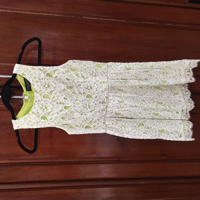 Topshop Petite Lime And White Lace Dress