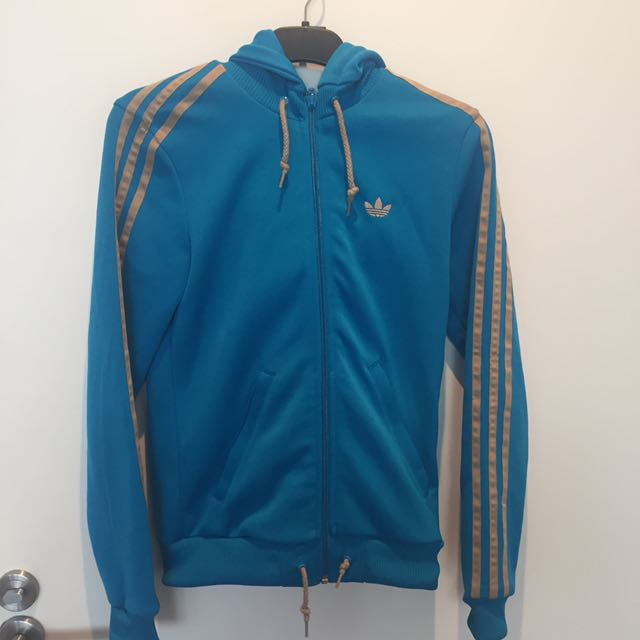 Women's Adidas Zip Jacket- Gold And Blue