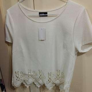 White Cut Out Detailing Shirt