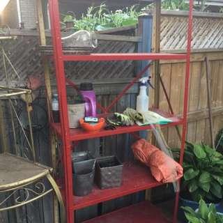 Metal storage shelves , dog crate , kids little tyke Easel
