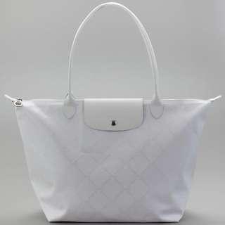 Longchamp Women's White Lm Metal Small Shopper in Blanc
