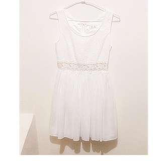 全新專櫃正品 Bye Bye 白色蕾絲腰部裸空雪紡洋裝短裙連身裙 ※0G100AQP※