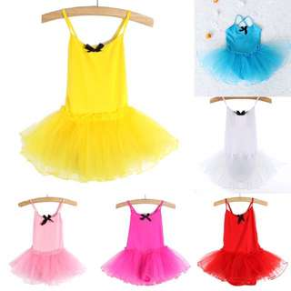 Girls Party Ballet Tutu Dance Dresses Kids Leotard Sleeveless Dress Costume 2-7Y