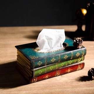 🚚 【ABS安伯家】書本面紙盒 木質紙巾盒 創意歐式風格 拍攝道具 裝飾擺飾 店面 咖啡廳 民宿