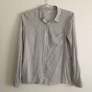White Shirt Stripe Top Pull N Bear