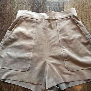 Aritzia High Waisted Suede Shorts